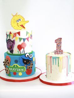 Sesame Street Cake and Smash Cake designed by Cake Bash Studio & Bakery Lake Balboa,CA