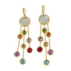 Exotic with rhomboidal gold beads :))))  Try gold jaali beads n two kinds of light gems :))  Marco Bicego Jaipur earrings.