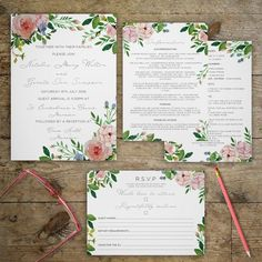 Rustic Watercolour Floral Textured Wedding Invitation RSVP With Modern Script Calligraphy