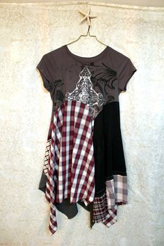 Grunge Rocker Plaid Tunic, Boho Junk Gypsy Style