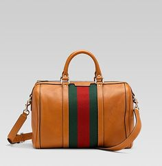 Gucci: 'Vintage Web' Medium Boston Bag with web detail. Color: light tobacco leather with green/red/green signature web