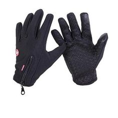 Winter Warm Anti-slip Thermal Touch Screen Gloves Zipper for Ladies Women NAVY