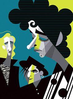 Caricatura de los rockeros argentinos por PABLO LOBATO