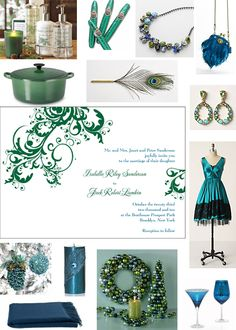 Peacock Blue Wedding Board...Love the ideas but want in purple, silver and white...