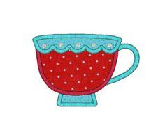 Teacup Applique Machine Embroidery Design-INSTANT DOWNLOAD