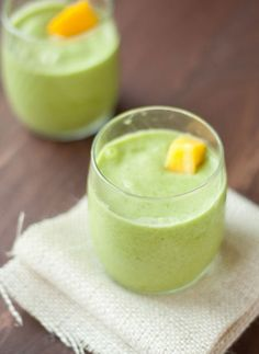 Tropical Fruit and Green Juice Smoothie
