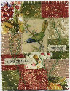 Baumcat Crazy Quilt Art. Multiple items on this post. Fabric Art Collage