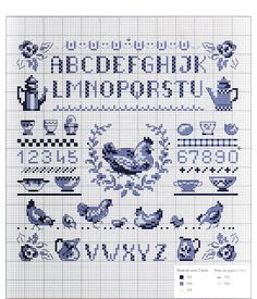 Cross stitch chart sampler farm house - chickens and tea, alphabet