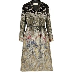 Womens Long Coats Valentino Landscape Belted Brocade Coat (55.701.820 IDR) ❤ liked on Polyvore featuring outerwear, coats, coats & jackets, jackets, valentino coat, brown leather belt, long belted coat, long coat and longline coat