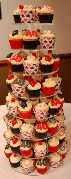 Joanne contacted us as she wanted a tower of vegas casino style cupcakes for her 40th Birthday party. We made her this amazing tower of cupc...