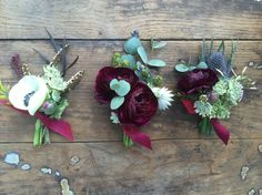 Ranunculus boutonniere / anemone boutonniere for a garden chic Marsala boutonnière / Marsala wedding by Flower Shack Blooms