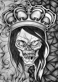 """Skull crown"" Pencil & Marker on paper A3 2010"
