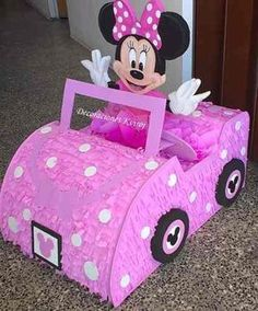 piñatas entamboradas infantiles, temáticas y de adultos Minnie Mouse Pinata, Mickey Mouse Theme Party, Fiesta Mickey Mouse, Minnie Birthday, Mickey Mouse Clubhouse, Baby Birthday, Cardboard Car, Pink Minnie, Creations
