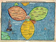 A pre-modern map of the world shows Jerusalem was the navel of the world. In the center like the eye of a daisy, surrounded by three petals marked Europe, Asia and Africa.