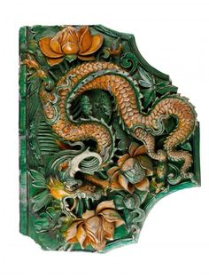 TWO MING DYNASTY DRAGON ROOF TILES 25 by 19 1/2 in. each️More Pins Like This At #FOSTERGINGER @ Pinterest️