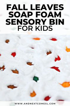 Looking for sensory bin ideas for fall? Then you should try this fall leaves soap foam sensory bin. It's perfect for toddlers, preschoolers, and kindergarten aged kids! #sensoryplay #sensorybin #sensorybins #preschool #toddlers #kindergarten Sensory Bins, Sensory Play, Kindergarten Age, Autumn Leaves, Kids Playing, Soap, Fall, Autumn, Fall Leaves
