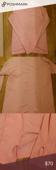 ***FLASH SALE, NO OFFERS** Lululemon fitted Top Pink long sleeve tech breathable long sleeve fitted top. Has thumb holes. Great to wear alone or layer. lululemon athletica Tops Tees - Long Sleeve