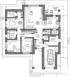 Bungalow, Floor Plans, How To Plan, Dom, Projects, Bungalows, Floor Plan Drawing, House Floor Plans