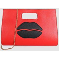 Sexy Mouth Pu Hand Bag ($24) ❤ liked on Polyvore featuring bags, handbags, polyurethane bags, pu handbag, cartoon bag, comic handbag and comic bag