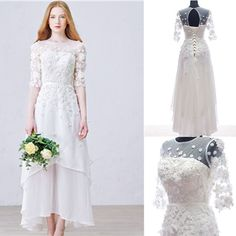 Long Sheath Scoop Half Sleeve Open Back Lace Up Wedding Dresses With A – AlineBridal