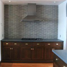 Wood Cabinets & Smoky Gray Backsplash Tiles