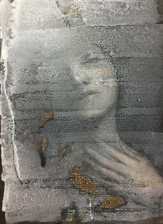 ghostly art print Ophelia by Isao Tomoda Grey And Gold, Brown And Grey, Fade Out, Shades Of Grey, Online Art, Instagram Posts, Mixed Media, Portrait Art, Portraits