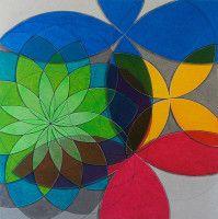 Flor verde geométrica com borboletas azul, amarela e vermelha - quadro Antese da…