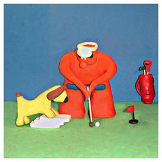Bob was just about to putt-when he noticed someone was taking a keen interesterrr..some room pls  #golf #fun #tips #golfing #golfwang #creative #golflife #bob_scooby #art #artist #funny #cute #picoftheday #artoftheday #dog #clay #clayart #golftips