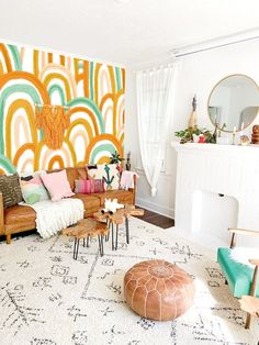 Add the Rainbow Mural REMOVABLE fabric wallpaper to your home or workspace! It's peel & stick and DI Wallpaper Samples, Fabric Wallpaper, Wallpaper Roll, Peel And Stick Wallpaper, Hand Painted Wallpaper, Removable Wall Decals, Prepasted Wallpaper, Diy Home, Traditional Wallpaper