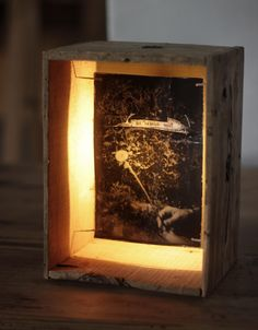 HANDMADE Photo LIGHTBOX #232 __ Made in September 2015 | Reclaimed found woodbox + FB photopaper + typewritter | Find it at ETSY.COM | $90 USD _ 80 Euros                                                                                                                                                     More