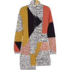 Etro Color-block cotton-blend cardigan (2.671.890 COP) ❤ liked on Polyvore featuring tops, cardigans, jackets, etro, coats, yellow, oversized tops, belted cardigan, colorful tops and color block cardigan
