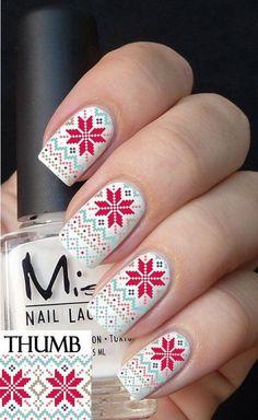 Snow nails chritsmas - Uñas estilo copo de nieve en navidad