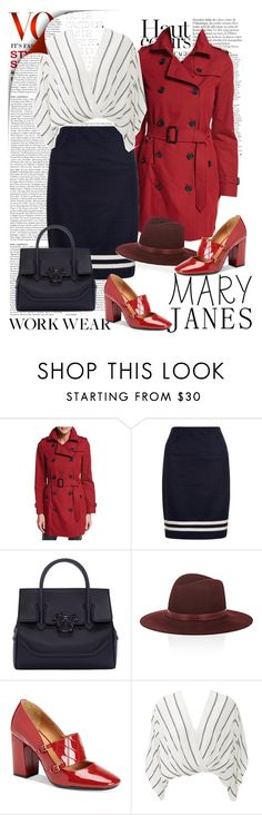 """""""Work Wear Mary Janes"""" by ellie366 ❤ liked on Polyvore featuring Anja, Burberry, Hobbs, Versace, Janessa Leone, Calvin Klein, Free People, WorkWear and maryjanes"""
