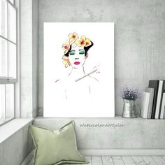 Modern Study Girl Portrait, Abstract Flowers Study Figure Modern Art, Watercolor Painting Minimalism Printable Wall Art Gift Ideas for Her. Gifts For An Artist, Etsy Christmas, Buy Art Online, Christmas Gift Guide, Abstract Flowers, Art Market, Printable Wall Art, Fine Art Paper, Giclee Print