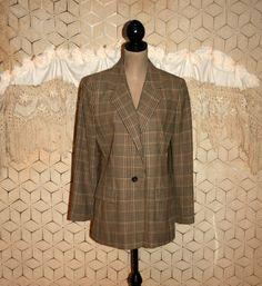 Beige Brown Plaid Jacket Women Fall Blazer Jacket by MagpieandOtis