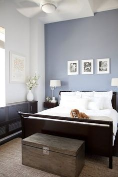 my bedroom is now grey/blue with dark brown accents similar to this. Looks like a white bedspred is the way to go...