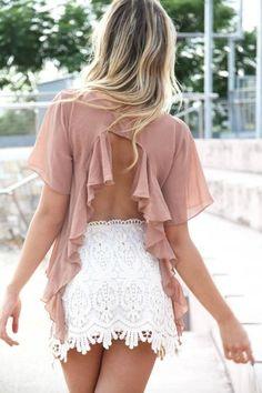 Sabo Skirt Open Back Frill Top