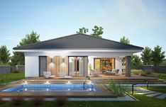 Projekt domu Miriam III 118,1 m2 - koszt budowy - EXTRADOM Modern House Floor Plans, Modern Bungalow House, Bungalow House Plans, Contemporary House Plans, Village House Design, Kerala House Design, House Front Design, Minimal House Design, Modern Small House Design