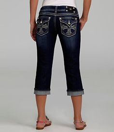 Miss Me Jeans Rhinestone Cross Denim Capri Jeans