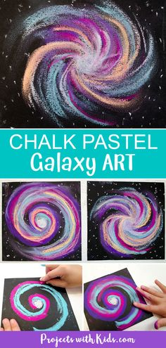 This chalk pastel galaxy art project is out of this world! Kids will love using easy chalk pastel techniques to create this stunning galaxy craft. #projectswithkids #kidsart #chalkpastels #kidscrafts Chalk Pastel Art, Pastel Artwork, Chalk Pastels, Chalk Art, Oil Pastels, Clay Art Projects, School Art Projects, Craft Projects For Kids, Kid Crafts