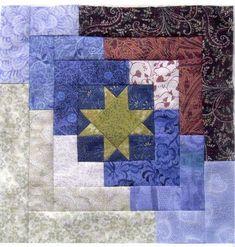 Ozark Log Cabin block, made from the original pattern in Judy Martin's 1990 book, Scraps, Blocks & Quilts. The Riyadh International Quilt Guild: BOM - September