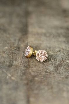 Rose Gold Druzy Studs, 10mm Druzy Stud Earrings, Pink Gold Sparkle Posts, Rose Gold Earrings, Glitter Studs