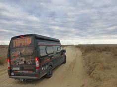 on the road near Astrakhan, Russia Camper, Fiat Ducato, Camping Car, Kazakhstan, Iran, Russia, Road Trip, Turkey, Trucks
