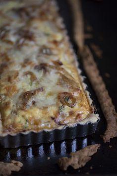 Savory Alsatian Onion Tart #Frenchfood #comfort #recipe