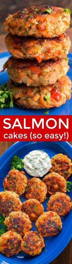 These salmon patties are flaky, tender and so flavorful with crisp edges and big bites of flaked salmon. Easy salmon patties that always disappear fast! I made these with left over baked salmon & flaked salmon in a packet. Salmon Dishes, Seafood Dishes, Seafood Recipes, Cooking Recipes, Healthy Recipes, Seafood Appetizers, Meal Recipes, Zoodle Recipes, Recipes Dinner