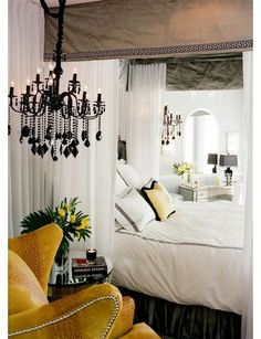 White bedroom with yellow and black accents teen bedroom