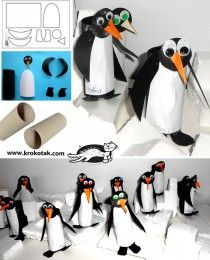 Penguins from empty toilet paper rolls Paper Towel Roll Crafts, Toilet Paper Roll Crafts, Paper Crafts Origami, Crafts For Boys, Fun Crafts, Diy For Kids, Toilet Roll Craft, Kindergarten Art Lessons, Rolled Paper Art