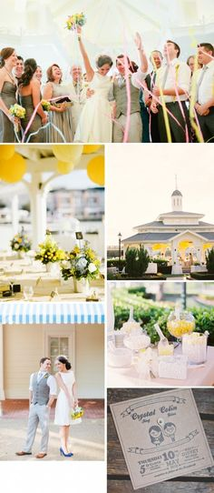 This real wedding (at Disney World!) has a fun, bright yellow and white palette