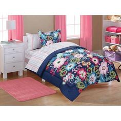Mainstays Kids Bed in a Bag Navy Floral Walmart from Kids Floral BeddingKids Floral Bedding - Are you currently plannin Kids Blankets, Kids Pillows, Kids Comforter Sets, Kids Sheets, Kids Canopy, Floral Bedding, Bed In A Bag, Bed Styling, Kid Beds