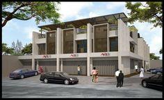 Simak Tips Berikut Sebelum Memutuskan Mencari Ruko! Best Exterior Paint, House Paint Exterior, Exterior Siding, Exterior House Colors, Stone Exterior Houses, Modern Exterior, Facade Design, House Design, French Country Exterior